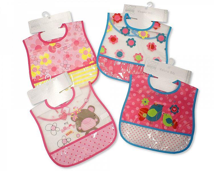 811 Nursery Time PEVA Baby Bibs Girls with Pocket Single or 4-Pack