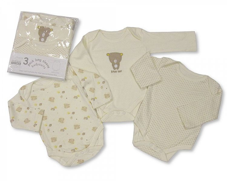 Nursery Time baby girls 3 in a pack long sleeve cotton body vests New born