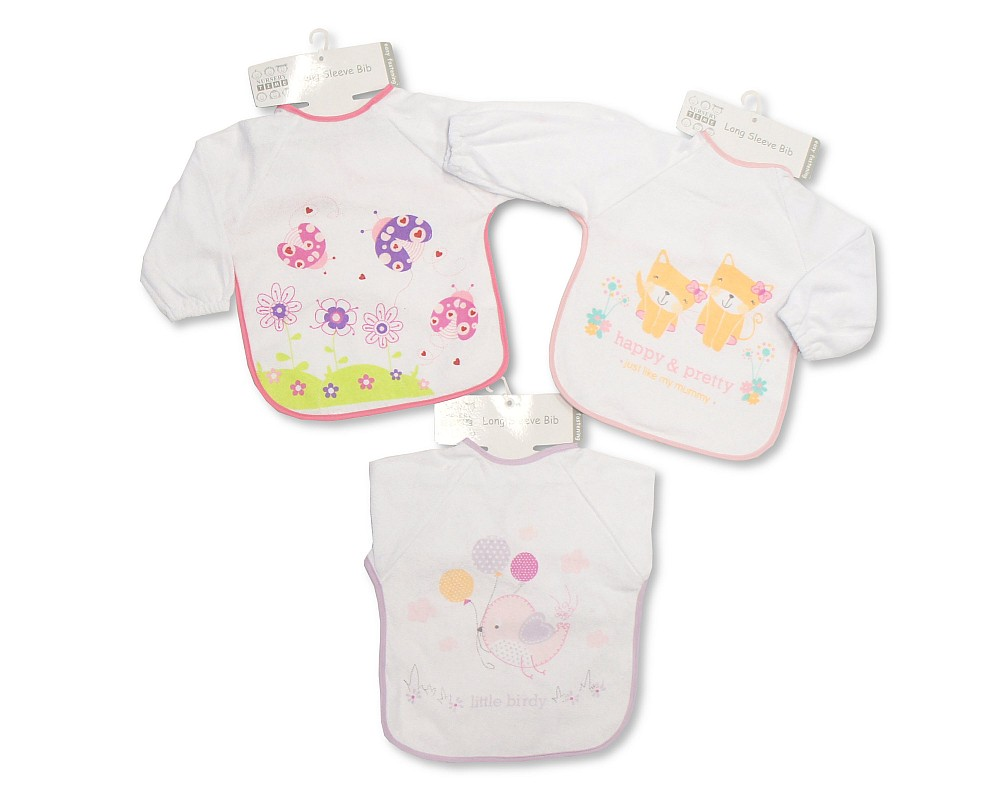 3 different designs 716 Large Long Sleeved Baby Bibs Girls with PEVA back