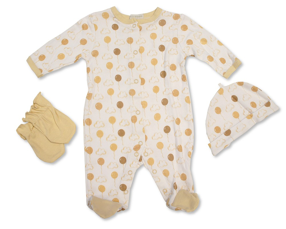 Balloons 0863a Baby Boys Girls Unisex Cotton Sleepsuit Hat and Mittens Set
